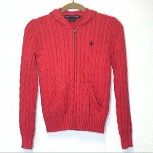Ralph Lauren Cable Knit Zip Up Hooded Sweater Sz S